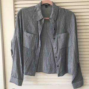 EXPRESS cropped pinstripe blouse